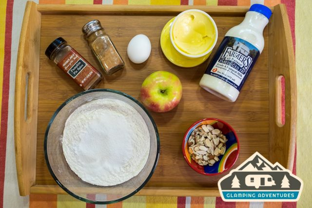 Ingredients for apple cinnamon pancakes.